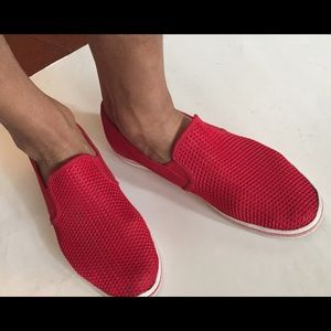 Also red slip on loafers